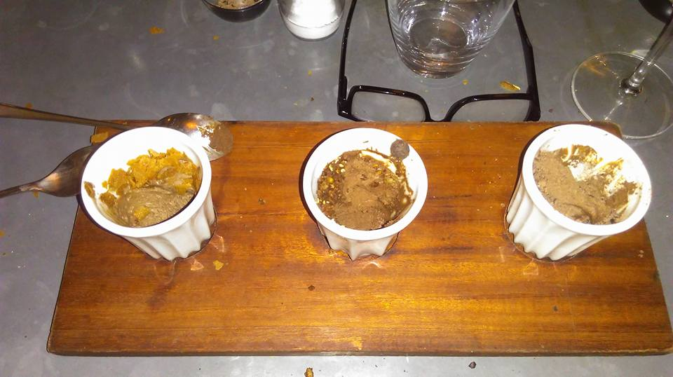 A trio of chocolate mousse