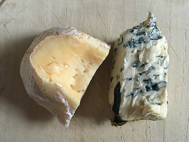 Two cheeses, one soft and one blue cheese