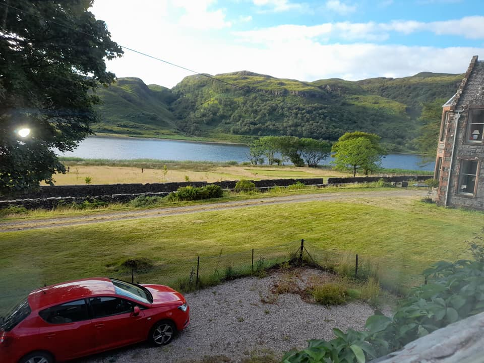View of Loch Usig and hills from Craig Ben Cottage, Isle of Mull