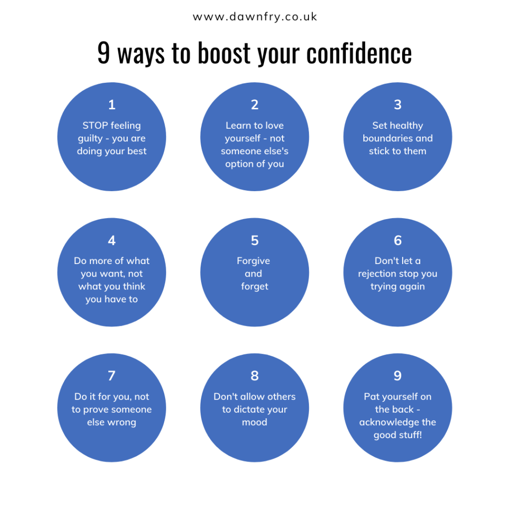 9 points in round blue circles to help you boost your confidence