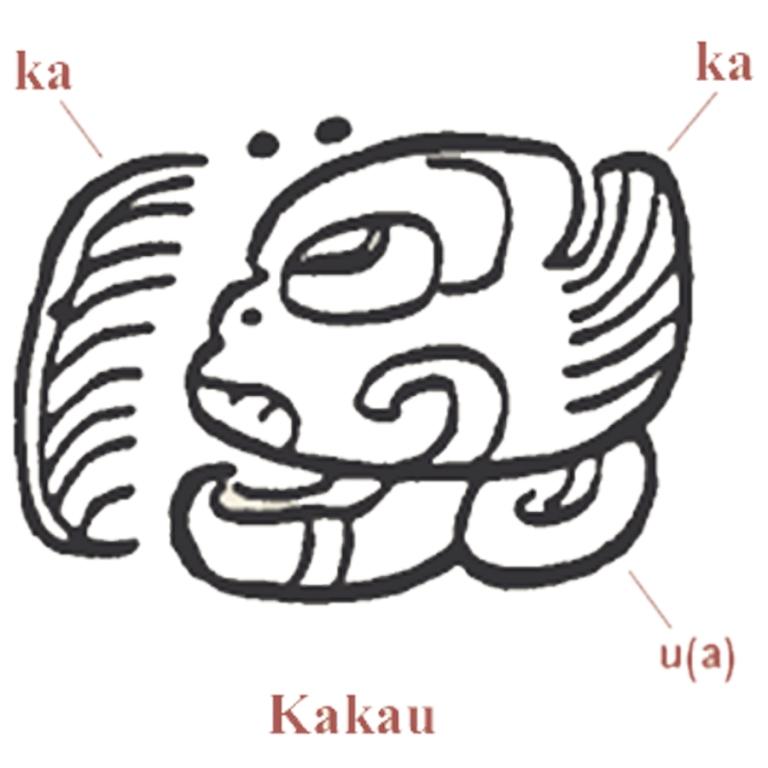 Mayan writing for the word Kakau referring to chocolate