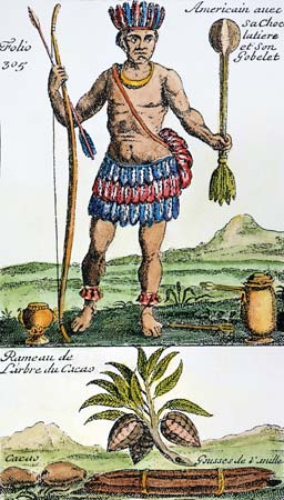 Native Aztec with chocolate equipment and weapons