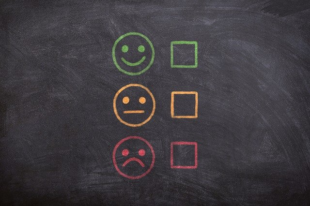 three faces with happy, neutral and sad, with tick boxes beside